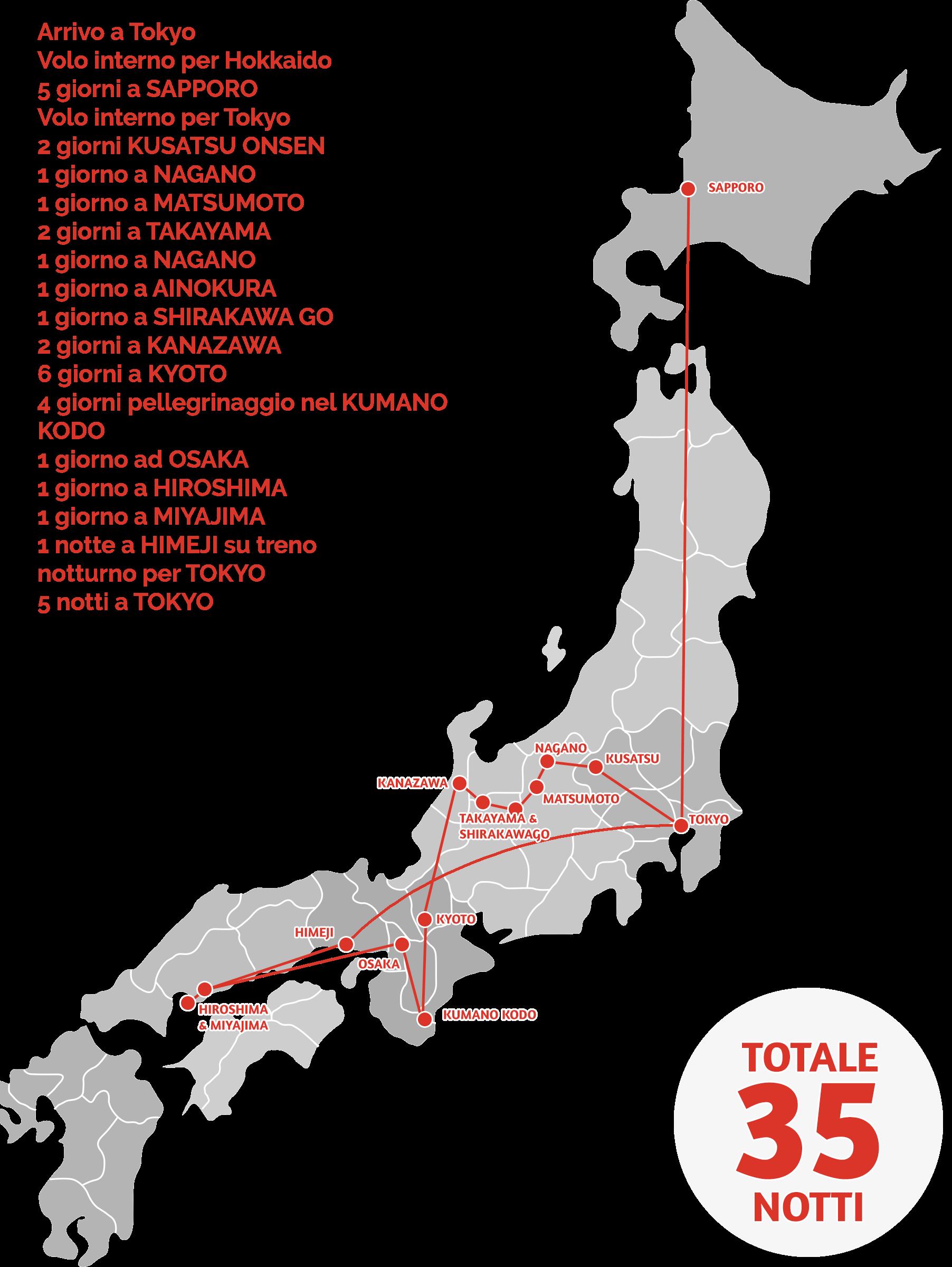 Itinerario 35 notti, 40 giorni fattibile anche in 50 giorni giappone
